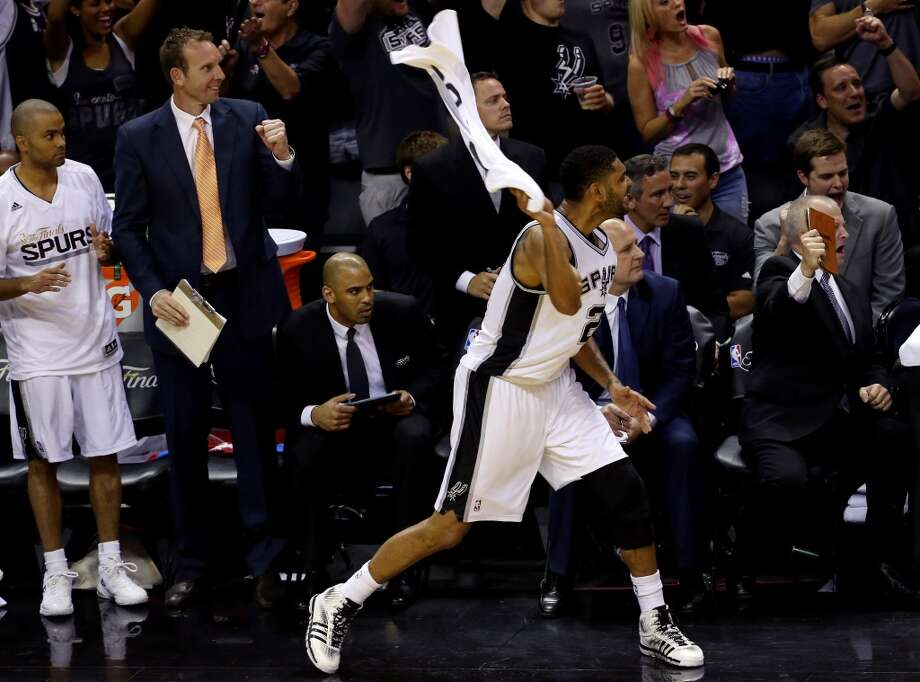Tim Duncan reacts on the bench during Game 5. Photo: Chris Covatta, Getty Images