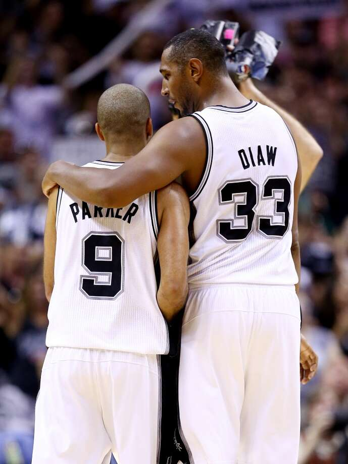 Boris Diaw and Tony Parker celebrate during Game 5. Photo: Andy Lyons, Getty Images