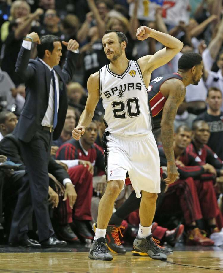 San Antonio Spurs Manu Ginobili celebrates after hitting a three pointer in the third quarter in Game 5 of the NBA Finals at the AT&T Center in San Antonio, Texas, on Sunday, June 15, 2014. (Al Diaz/Miami Herald/MCT) Photo: Al Diaz, McClatchy-Tribune News Service