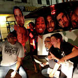 Fans celebrate the Spurs winning the NBA Championship after beating the Miami Heat in downtown San Antonio on Sunday, June 15, 2014.