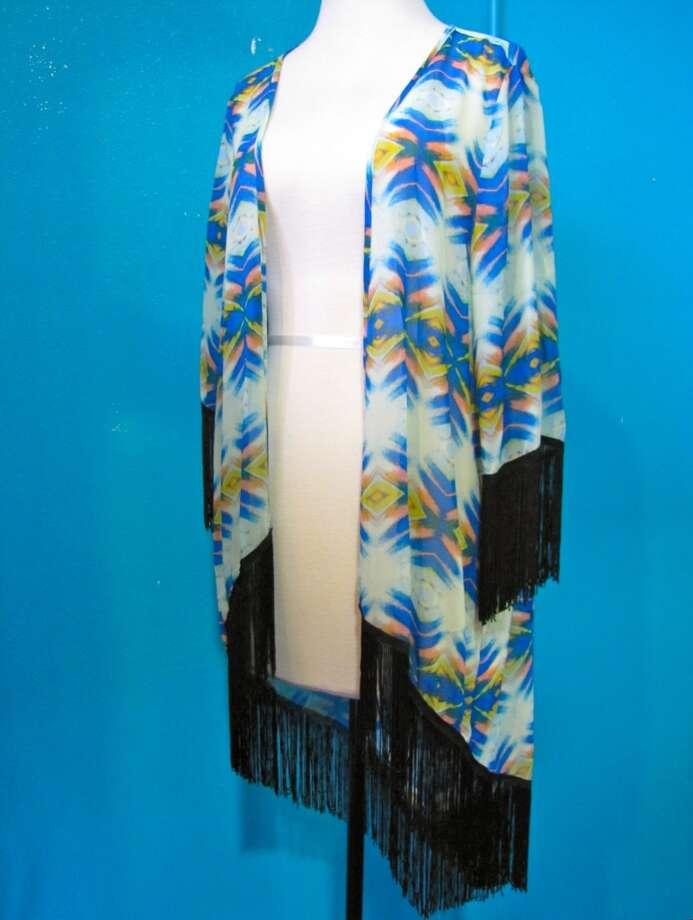 Fringe kimono, $52, Gaudie & Co., Beaumont