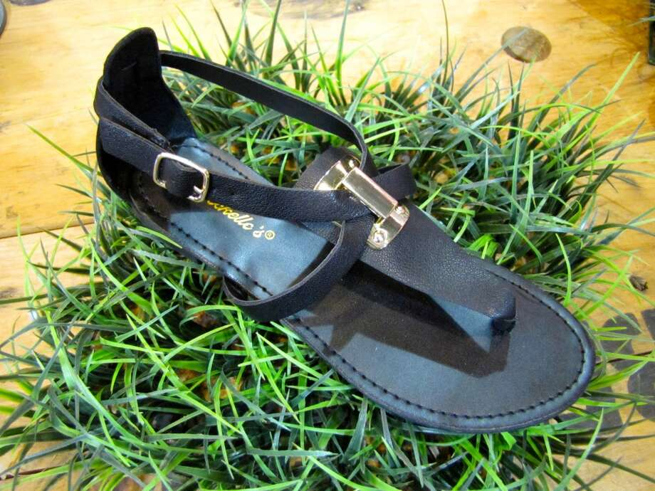 Black and gold sandals, $28, Gaudie & Co., Beaumont