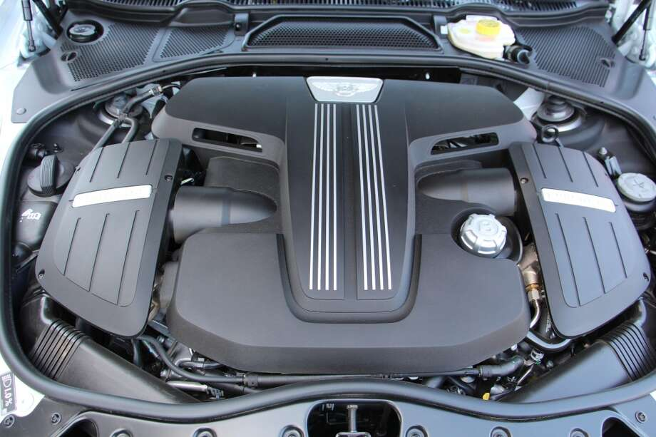 The four-liter, twin-turbocharged V8 engine that moves the stately Bentley down the road.
