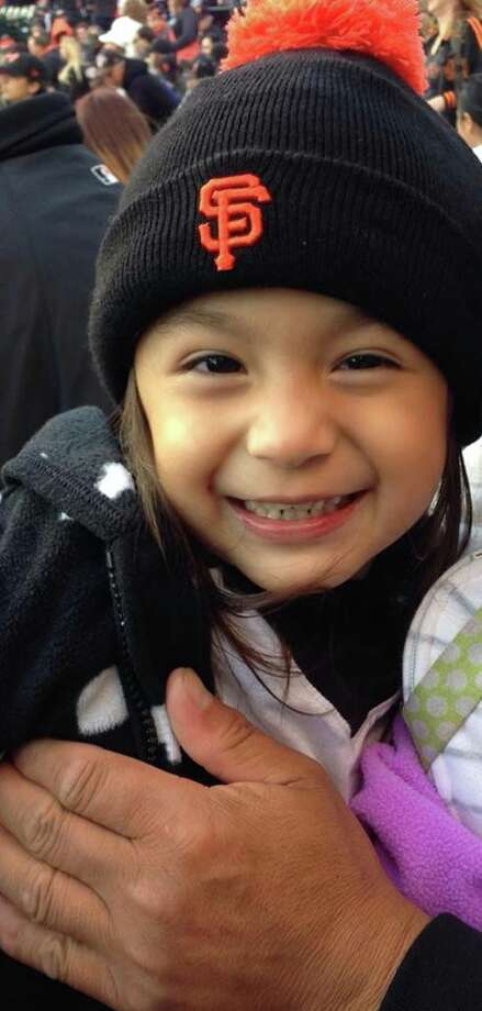 This shot of an excited young fan is from her first Giants game. Photo: Leslie Ann , Courtesy