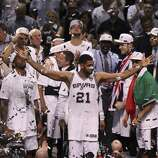 San Antonio Spurs' Tim Duncan acknowledges the fans after winning Game 5 against the Miami Heat at the 2014 NBA Finals at the AT&T Center on Sunday, June 15, 2014. (Kin Man Hui/San Antonio Express-News)