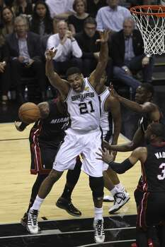 in the first quarter of Game 5 of the 2014 NBA Finals at the AT&T Center on Sunday, June 15, 2014. (Kin Man Hui/San Antonio Express-News) Photo: San Antonio Express-News