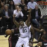 in the first quarter of Game 5 of the 2014 NBA Finals at the AT&T Center on Sunday, June 15, 2014. (Kin Man Hui/San Antonio Express-News)