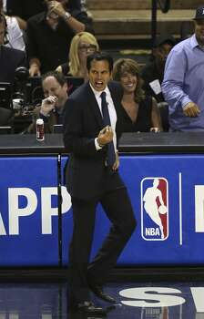 Miami Heat's head coach Erik Spoelstra react to a foul during game five of the NBA Finals against the San Antonio Spurs at the AT&T Center, Sunday, June 15, 2014. Photo: San Antonio Express-News