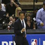 Miami Heat's head coach Erik Spoelstra react to a foul during game five of the NBA Finals against the San Antonio Spurs at the AT&T Center, Sunday, June 15, 2014.