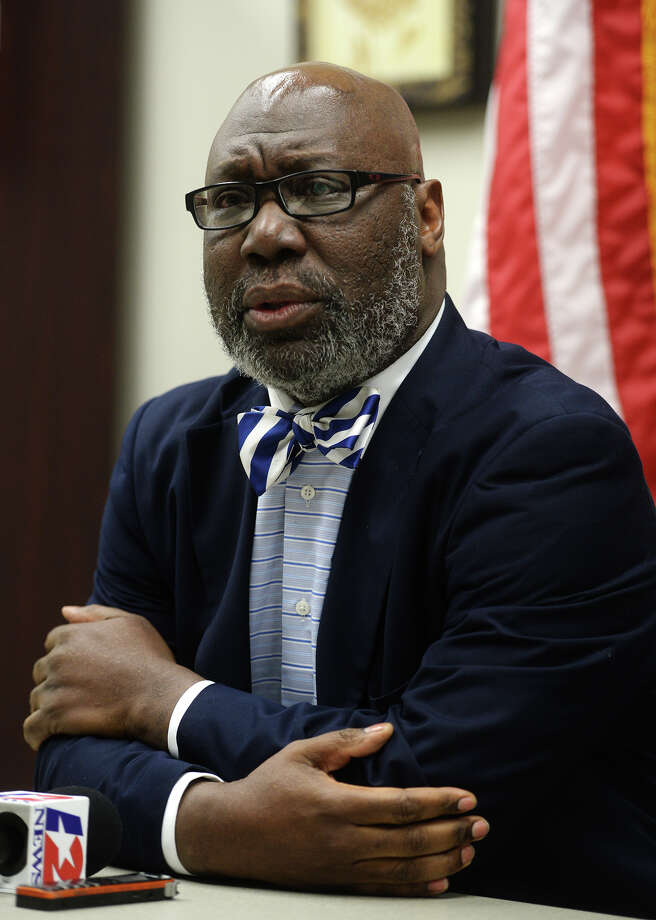 Texas Education Agency Commissioner Michael Williams meets with the media Thursday afternoon to discuss the TEA's next move. Williams met with BISD Superintendent Timothy Chargois and board members at the Region 5 Education Service Center in Edison Plaza on Thursday afternoon.