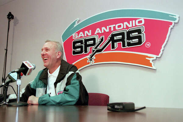 METRO - Spurs General Manager Gregg Popovich could not comment about his players salary deals but was still happy that a season was saved and already looks forward to the playoffs during a press conference at Spurs offices at the Alamodome on Thursday. 1-7-99. Kin Man Hui/staff.