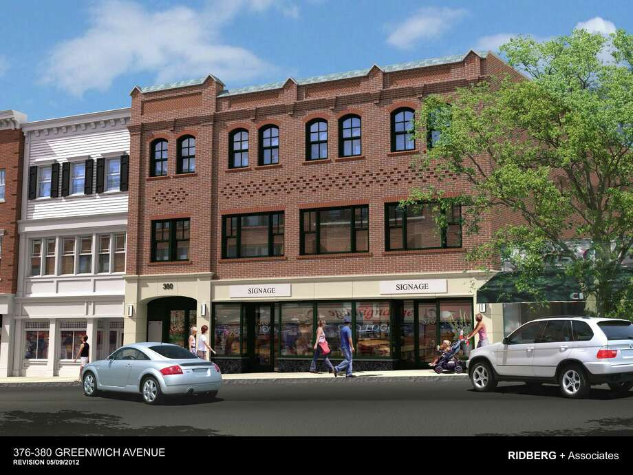 Construction of this mixed-used building being developed by Laraco 376 should be completed in September. Located at 376 Greenwich Ave., the building contacts first-floor retail space, divided retail and office use on the second floor and a large apartment on the third floor topped by a rooftop terrace. Photo: Contributed Photo, Contributed Rendering / Greenwich Time Contributed