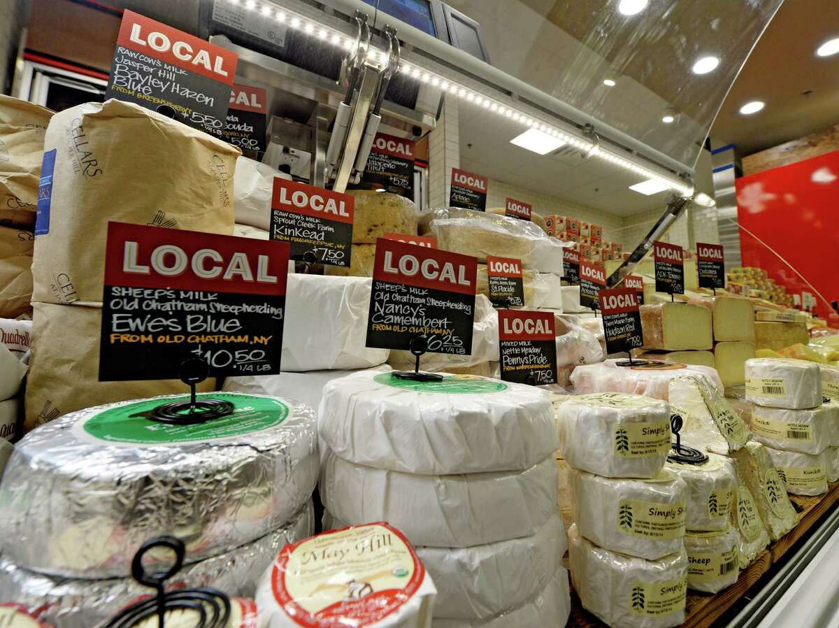 Locally produced cheeses at the new Whole Foods Market in Colonie are ready for consumers Monday morning, June 16, 2014, as the Colonie store gets ready for its grand opening on Wednesday at Colonie Center in Colonie, N.Y. (Skip Dickstein / Times Union)