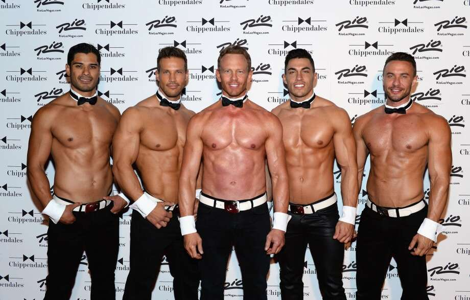 (L-R) Chippendales dancers Louis De La Torre, Sami Eskelin and actor Ian Ziering and Chippendales dancers John Howes and Ryan Stuart arrive at Chippendales as Ziering returns as Chippendales celebrity guest host at the Rio Hotel & Casino on June 14, 2014 in Las Vegas, Nevada. Photo: Bryan Steffy, WireImage