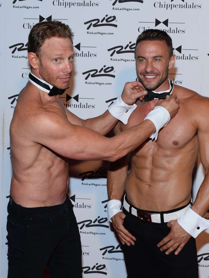 Actor Ian Ziering (L) and Chippendales dancer Ryan Stuart arrive at Chippendales as Ziering returns as Chippendales celebrity guest host at the Rio Hotel & Casino on June 14, 2014 in Las Vegas, Nevada. Photo: Bryan Steffy, WireImage