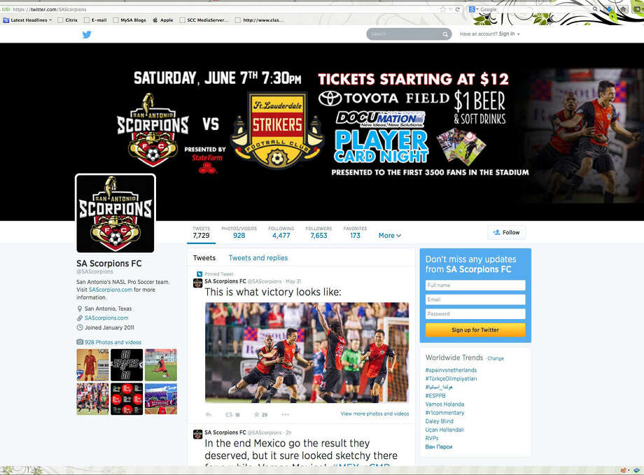 The San Antonio Scorpions Twitter page offers lots of action. Photo: Courtesy Image