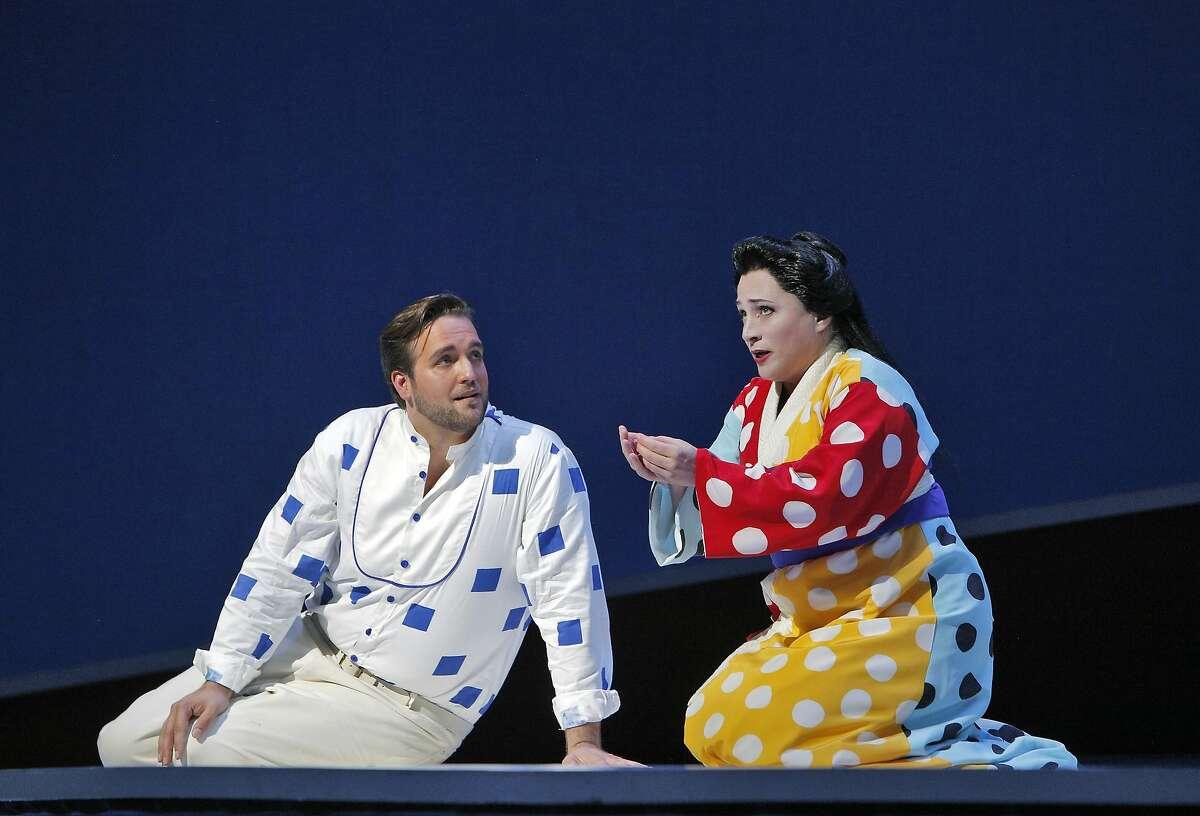 Brian Jagde (Pinkerton) and Patricia Racette (Cio-Cio-San) perform a scene in the SF Opera production of Madama Butterfly.