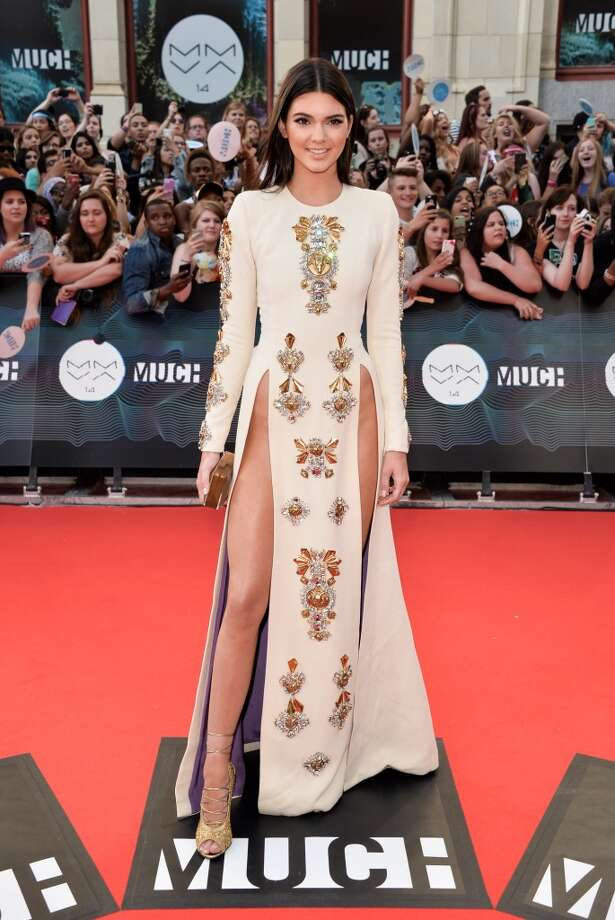 Kendall Jenner at the 2014 MuchMusic Video Awards on June 15, 2014 in Toronto wearing a much talked about double slit dress exposing her bare pelvic bones. Click through the gallery to see how slit dresses have been worn through the years. Photo: George Pimentel, WireImage