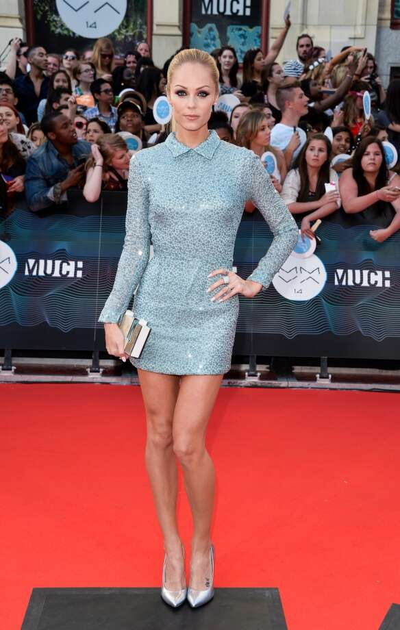 Laura Vandervoort arrives at the 2014 MuchMusic Video Awards at MuchMusic HQ on June 15, 2014 in Toronto, Canada. Photo: George Pimentel, WireImage