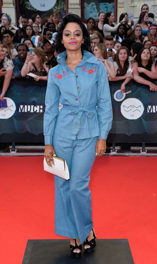 Fefe Dobson arrives at the 2014 MuchMusic Video Awards at MuchMusic HQ on June 15, 2014 in Toronto, Canada. Photo: George Pimentel, WireImage