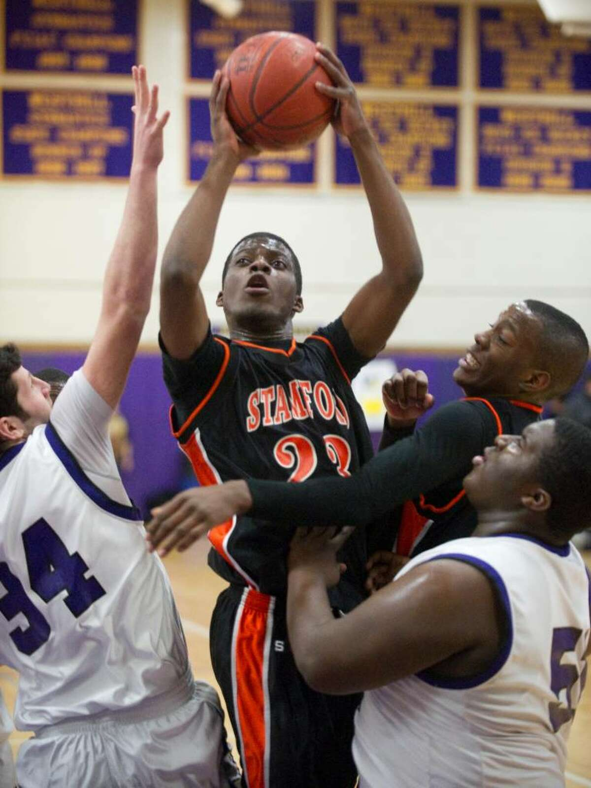 Stamford's Jethro Anilus shoots during an FCIAC boys basketball game at Westhill High School in Stamford, Conn. on Monday, Feb. 15, 2010. Stamford High School defeated Westhill High School 45-43.