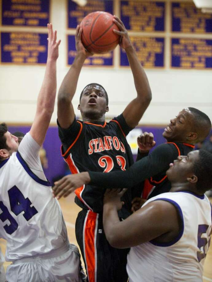 Stamford's Jethro Anilus shoots during an FCIAC boys basketball game at Westhill High School in Stamford, Conn. on Monday, Feb. 15, 2010. Stamford High School defeated Westhill High School 45-43. Photo: Chris Preovolos / Stamford Advocate