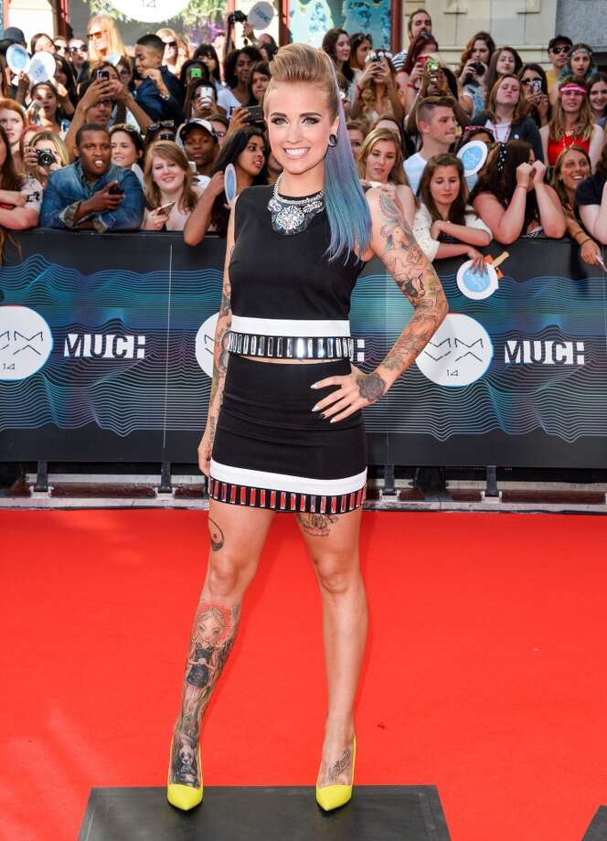 VJ Phoebe Dykstra arrives at the 2014 MuchMusic Video Awards at MuchMusic HQ on June 15, 2014 in Toronto, Canada. Photo: George Pimentel, WireImage
