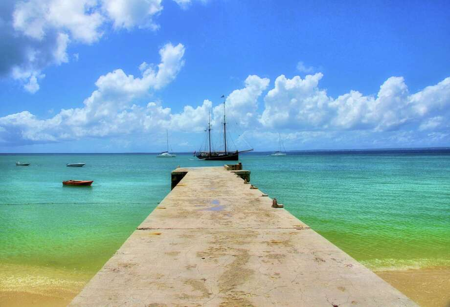 The view from the pier on Grand Case Beach in St. Martin. (photo submitted by Chronicle reader Leeza Callahan of Spring) Photo: Leeza Callahan / Leeza Callahan