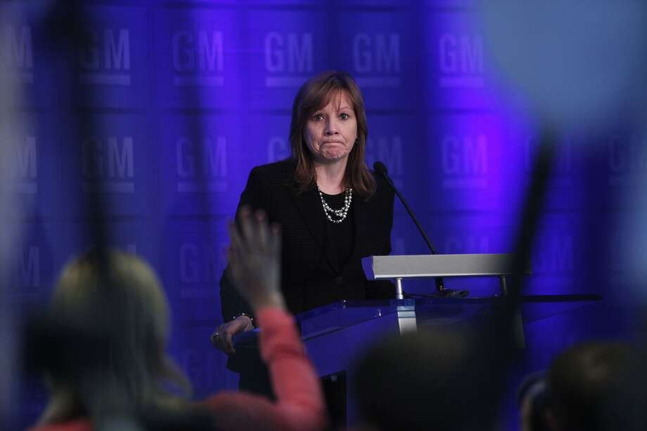 GM CEO Mary Barra talks to the media before addressing shareholders last week over recalls. Photo: Bill Pugliano, Getty Images