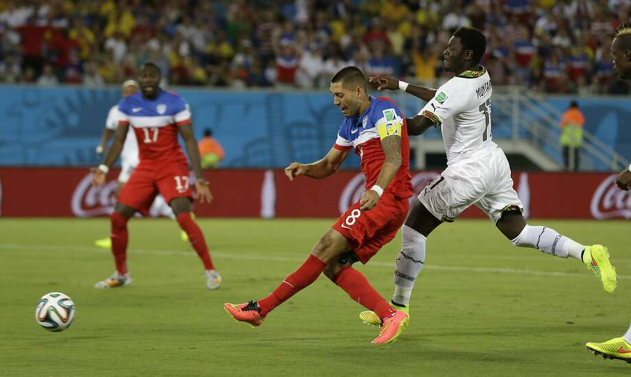 United States' Clint Dempsey scores the opening goal during the group G World Cup soccer match between Ghana and the United States at the Arena das Dunas in Natal, Brazil, Monday, June 16, 2014.  ( Photo: Ricardo Mazalan, Associated Press
