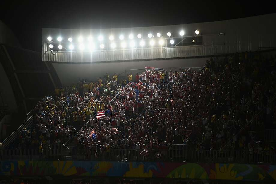 Fans of The United States  cheer during the 2014 FIFA World Cup Brazil Group G match between Ghana and the United States at Estadio das Dunas on June 16, 2014 in Natal, Brazil.  Photo: Laurence Griffiths, Getty Images