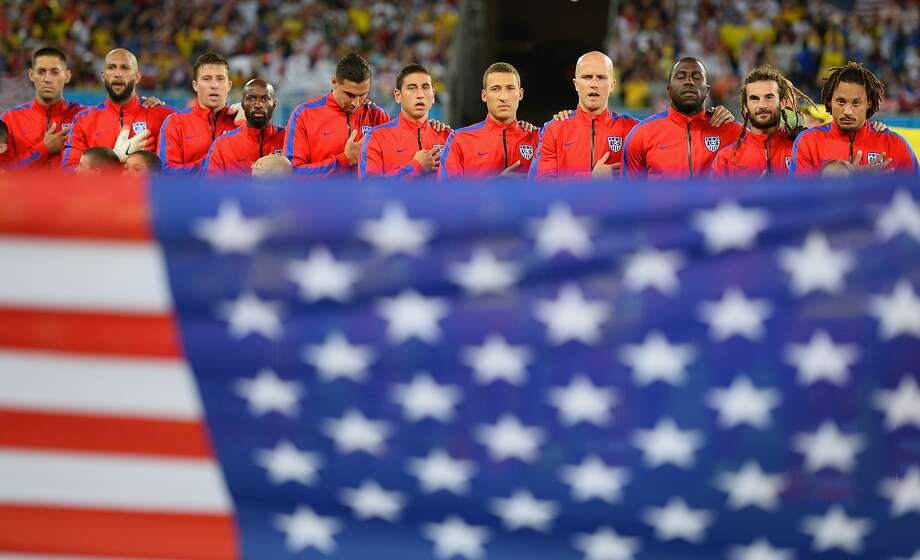 The United States players line up on the field before the 2014 FIFA World Cup Brazil Group G match between Ghana and the United States at Estadio das Dunas on June 16, 2014 in Natal, Brazil. Photo: Jamie McDonald, Getty Images