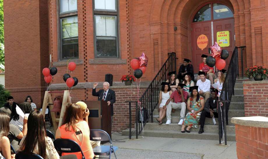 Joe Pepin, ACE's founding principal, speaks during The Alternative Center for Excellence graduation ceremony at the school Monday morning, June 16, 2014. Photo: Carol Kaliff / The News-Times