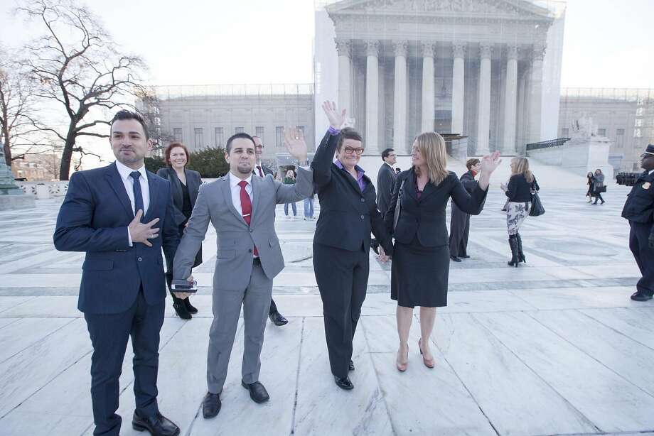 Paul Katami (left), Jeff Zarrillo, Kris Perry and Sandy Stier argued against Proposition 8 before the U.S. Supreme Court. Photo: Diana Walker/AFER, HBO