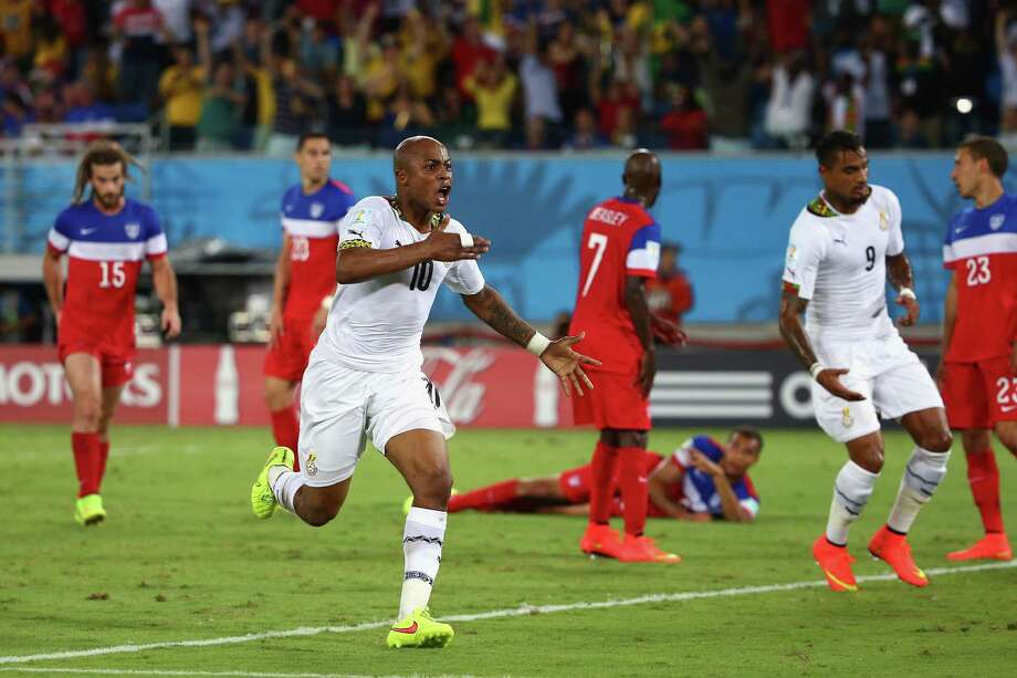 NATAL, BRAZIL - JUNE 16:  Andre Ayew of Ghana celebrates after scoring his team's first goal during the 2014 FIFA World Cup Brazil Group G match between Ghana and the United States at Estadio das Dunas on June 16, 2014 in Natal, Brazil. Photo: Robert Cianflone, Getty Images / 2014 Getty Images