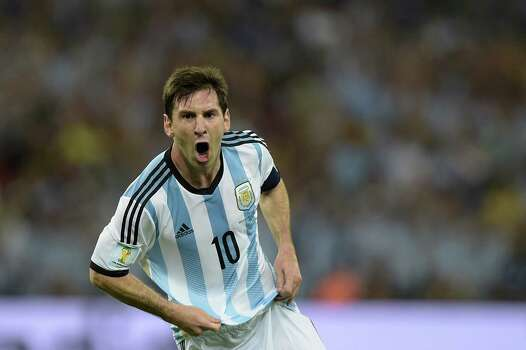 TOPSHOTS  Argentina's forward and captain Lionel Messi celebrates after scoring his team's second goal during the Group F football match between Argentina and Bosnia Hercegovina at the Maracana Stadium in Rio De Janeiro during the 2014 FIFA World Cup on June 15, 2014. AFP PHOTO / JUAN MABROMATAJUAN MABROMATA/AFP/Getty Images Photo: JUAN MABROMATA, AFP/Getty Images / AFP