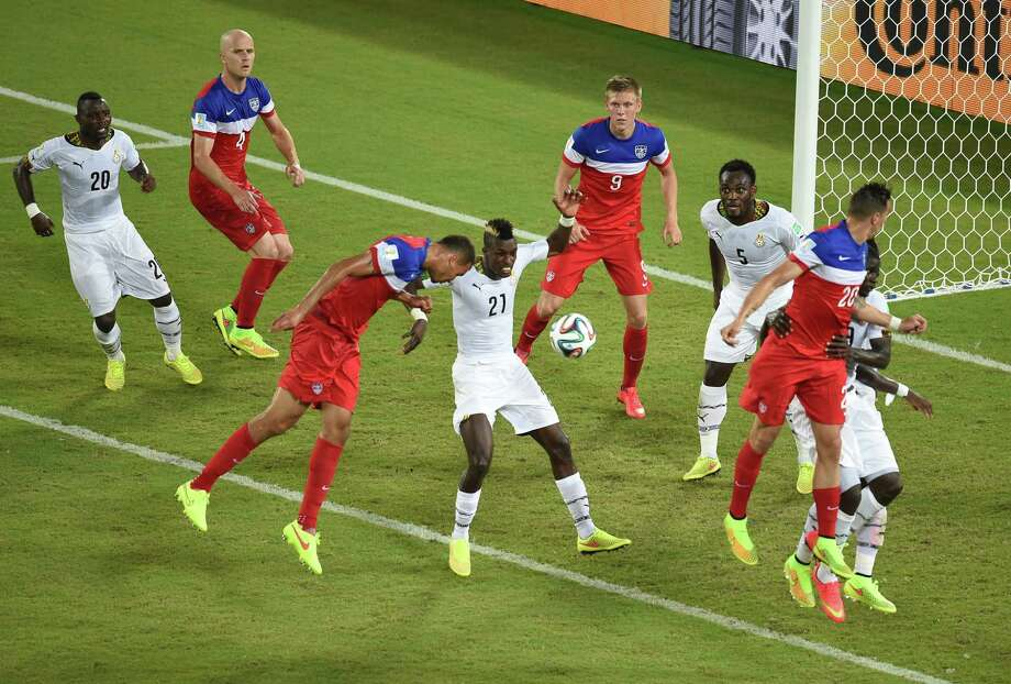 US defender John Brooks (3L) scores during a Group G football match between Ghana and US at the Dunas Arena in Natal during the 2014 FIFA World Cup on June 16, 2014.  AFP PHOTO / JAVIER SORIANO Photo: JAVIER SORIANO, AFP/Getty Images / AFP