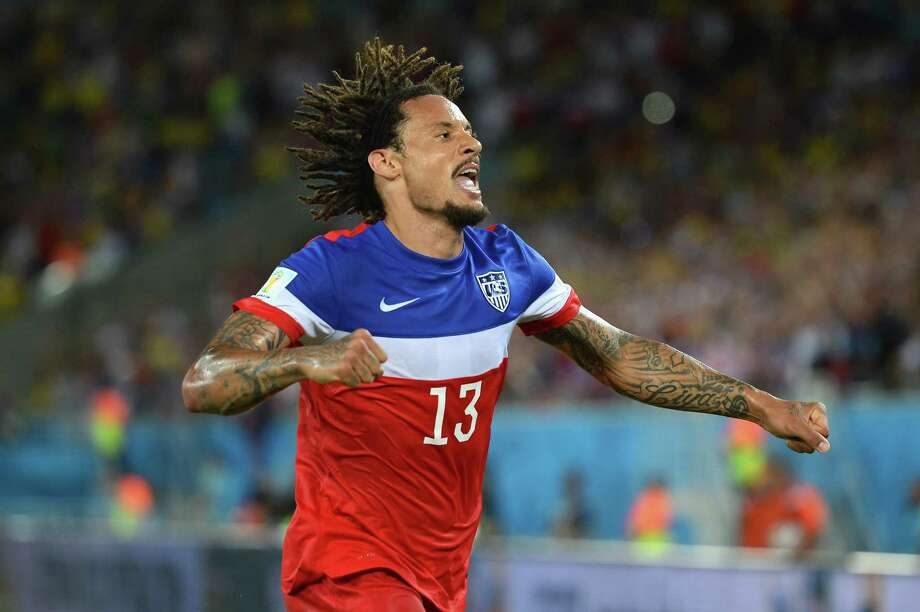 NATAL, BRAZIL - JUNE 16:  Jermaine Jones of the United States celebrates his team's victory 2-1 over Ghana in the 2014 FIFA World Cup Brazil Group G match between Ghana and the United States at Estadio das Dunas on June 16, 2014 in Natal, Brazil. Photo: Jamie McDonald, Getty Images / 2014 Getty Images