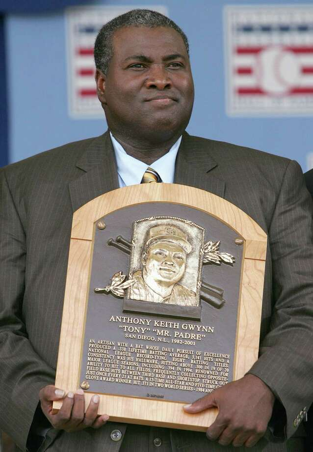 FILE - JUNE 16: According to reports June 16, 2014, Hall of Fame baseball player Tony Gwynn has died at the age of 54. COOPERSTOWN, NY - JULY 29: 2007 inductee Tony Gwynn poses with his plaque at Clark Sports Center during the Baseball Hall of Fame induction ceremony on July 29, 2007 in Cooperstown, New York. (Photo by Chris McGrath/Getty Images) ORG XMIT: 75683971 Photo: Chris McGrath / 2007 Getty Images