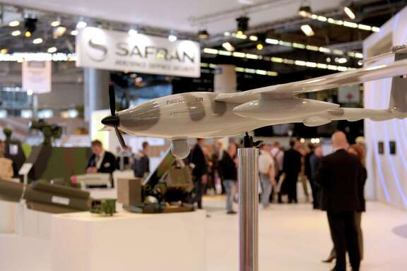 French aerospace company Safran, builder of the Patroller drone, in foreground, and Airbus will team up to compete against Russian and U.S. space rivals.