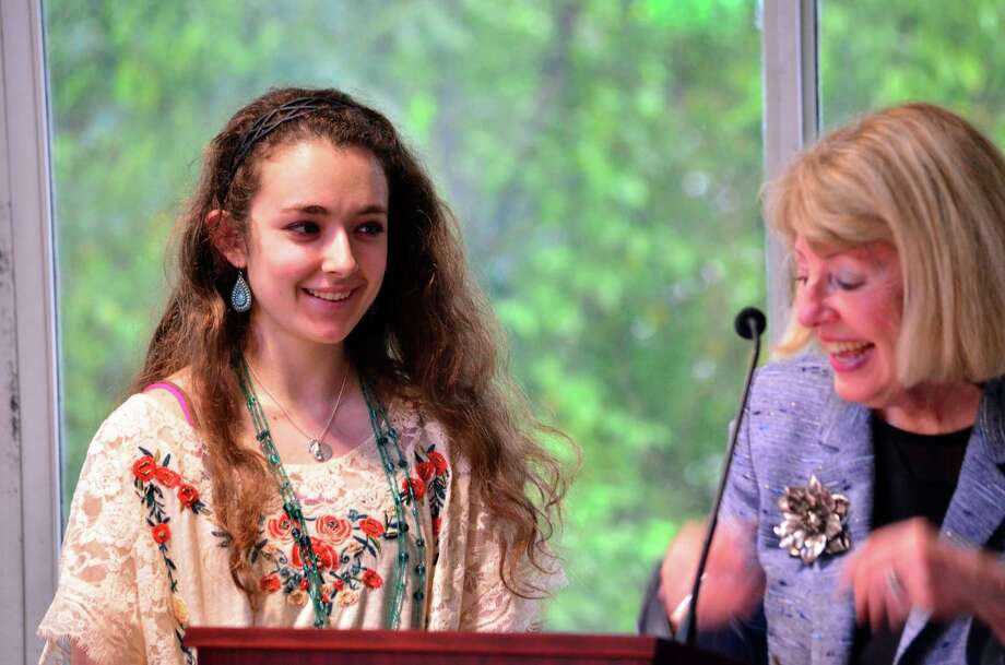 Jordan Cassetta stands with Interim Superintendent Lynne Pierson before receiving her Superintendent's Citizenship Award at the Tuesday Board of Education meeting. Photo: Megan Spicer / Darien News