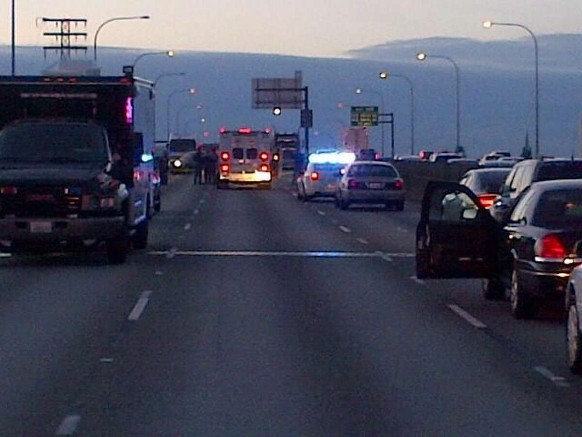 Southbound Interstate 5 at the Ship Canal Bridge, pictured at dusk Monday in a State Patrol photo.
