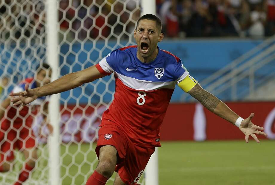 United States' Clint Dempsey celebrates after scoring the opening goal during the group G World Cup soccer match between Ghana and the United States at the Arena das Dunas in Natal, Brazil, Monday, June 16, 2014. The United States won the match 2-1. (AP Photo/Ricardo Mazalan) Photo: Ricardo Mazalan, Associated Press