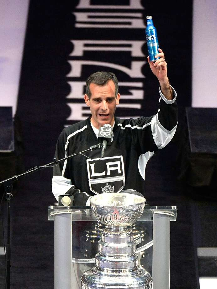 L.A. Mayor Eric Garcetti boasted and toasted the Kings' Stanley Cup win. Photo: Harry How, Getty Images