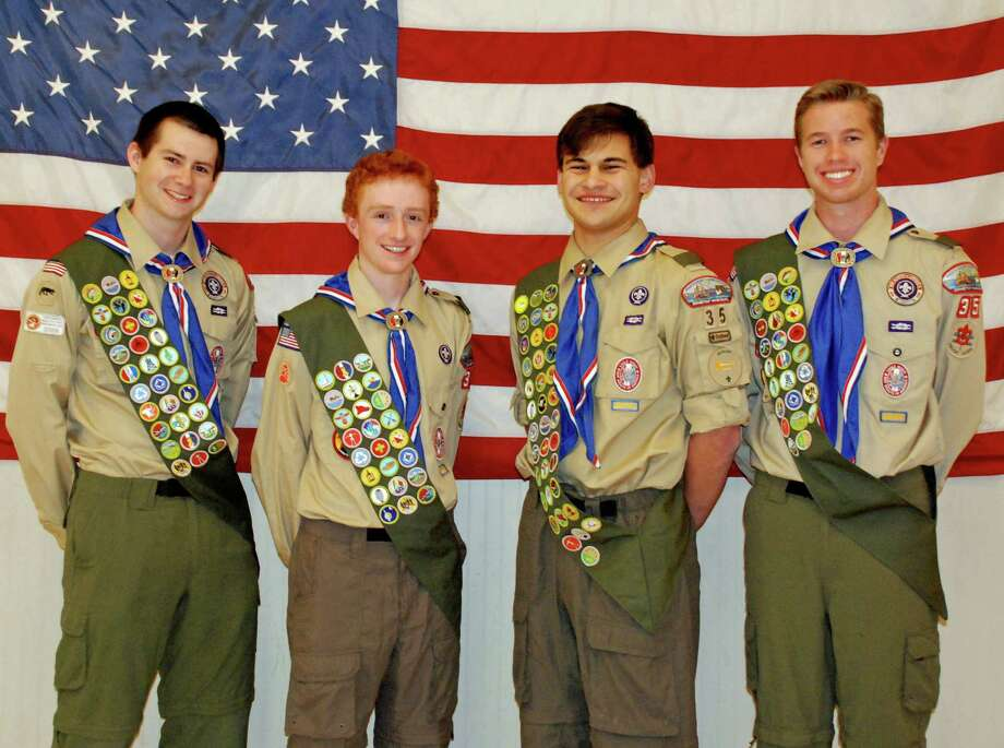 Nicholas P. Cohen, Arthur F. Doelp, Alexander J. Rayhill and Jacob D. Ruquoi were honored June 7 for achieving the level of Eagle Scout. Photo: Contributed Photo, Contributed / Darien News Contributed