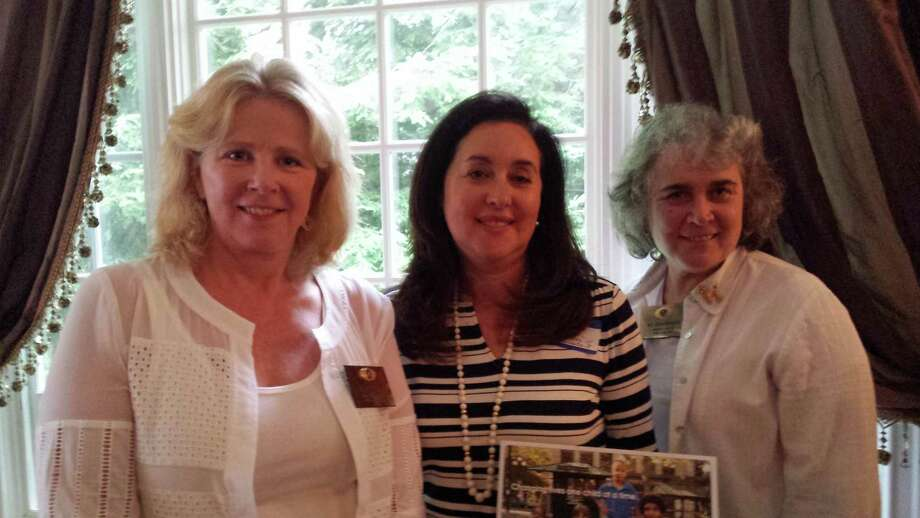 Stacey Sobel, center, executive director of Child Advocates of SW Connecticut, recently discussed her organization with members of the Kiwanis Club of New Canaan. Sobel is pictured with Kiwanis President Stacey Hafen, left, and member Kit Devereaux. Photo: Contributed Photo, Contributed / New Canaan News Contributed