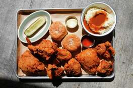 Fried chicken and fixins at Punk's Simple Southern Food.