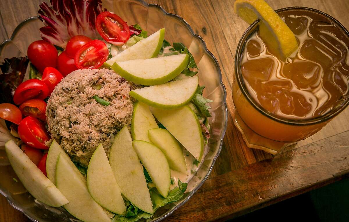 """The Tuna Salad with the """"Dirty Bunny"""" iced tea at the Atlas Cafe in San Francsico, Calif. is seen on Monday, June 9th, 2014."""