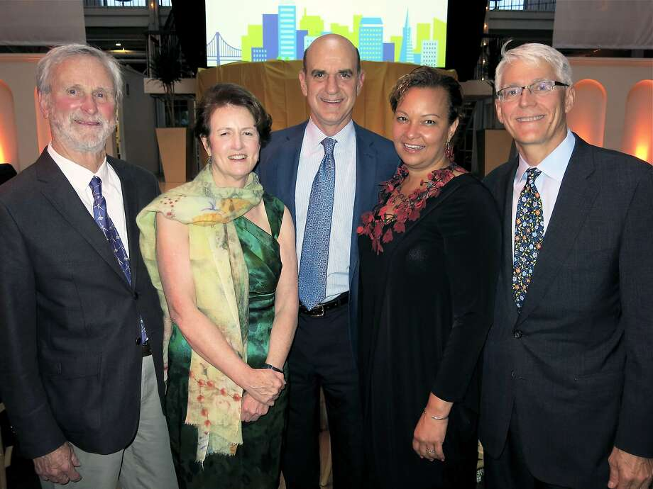 NRDC co-founder John Adams (left), Frances Beinecke, honorees Bob Fisher and Lisa Jackson, and Peter Lehner. Photo: Catherine Bigelow, Special To The Chronicle