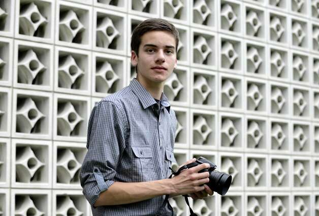 "Brendan Bequette of Albany is pictured  Friday evening, June 13, 2014, outside the Times Union in Colonie, N.Y.  His video, a commercial for Albany High School's track team, won the Times Union's ""Best of"" ad competition. (Will Waldron/Times Union) Photo: WW"